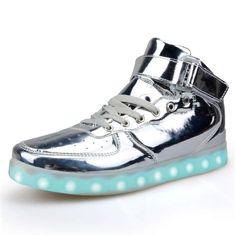 free light up shoes gold silver high top shoes that light up led shoes usb