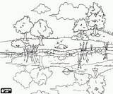 Coloring Pond Pages Landscape Clipart Scenic Drawing Landscapes Clip Adult Calm Nature Adults Drawings Cliparts Sheets Printable Colouring Reflections Waters sketch template
