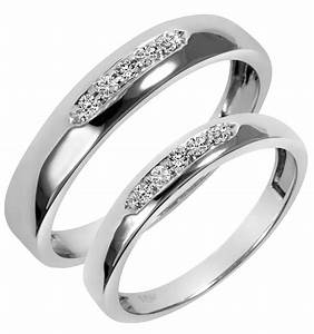 White gold wedding ring sets his and hers diamondstud for Wedding ring sets white gold