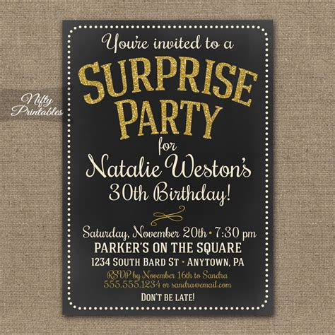 Chalkboard Gold Glitter Surprise Party Invitations Nifty