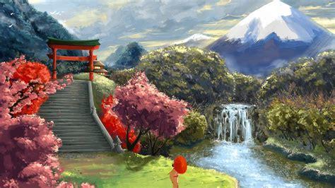 asian landscapes wallpaper waterfall river painting mountain temple art landscape geisha asian landscape