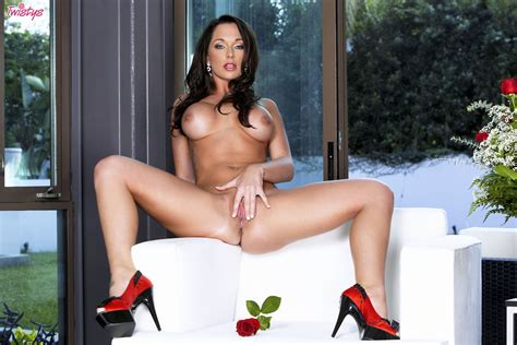 Beautiful Busty Brunette Destiny Dixon Posing In Sexy Red