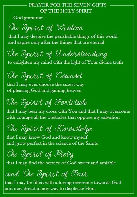 Seven Gifts of the Holy Spirit Prayer