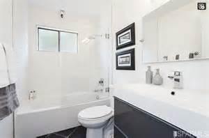 bathroom modern wide sink wavy shower tile  tub