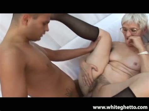 Skinny Gray Haired Granny Gets Her Bald Cunt Poked In