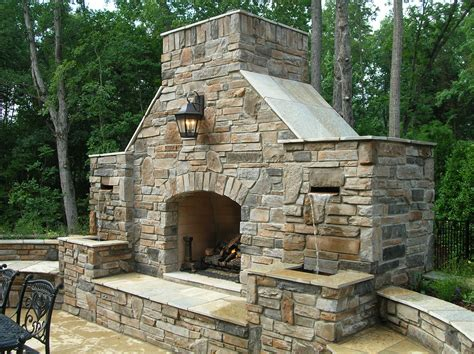 outdoor chimneys fireplaces combination outdoor fireplace and water fountain outdoor living pictures custom outdoor