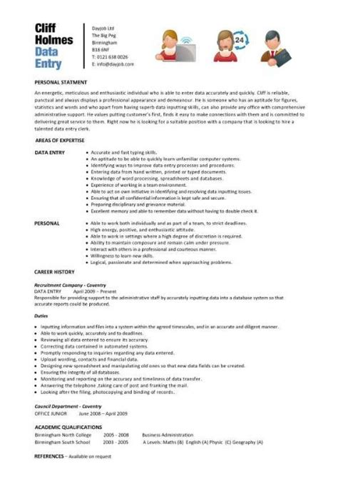 Data Entry For Resume by Data Entry Resume Template Purchase