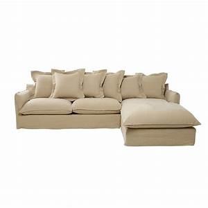 Canapé D Angle 7 Places : canap d 39 angle 7 places en lin lav beige ficelle ~ Melissatoandfro.com Idées de Décoration