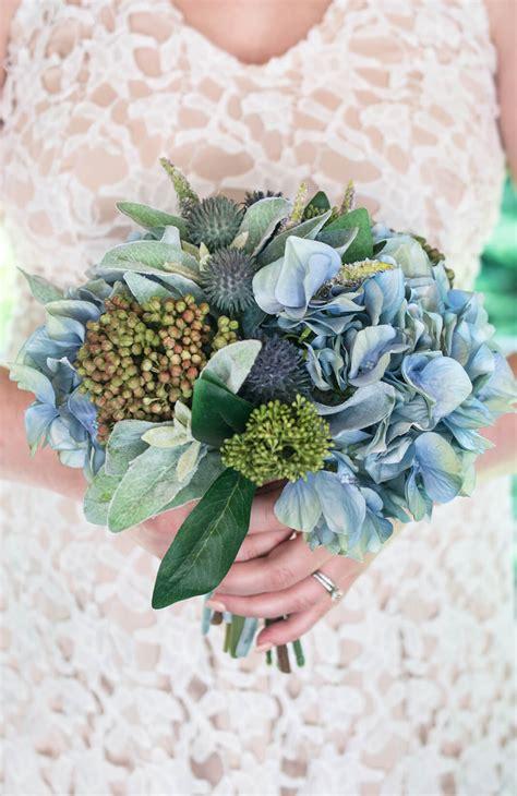 blue hydrangea thistle lambs ear bouquet
