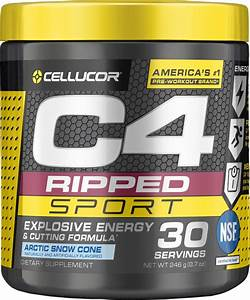 C4 Ripped Sport Pre Workout Powder Artic Snow Cone Nsf Certified For Sport Sugar Free Preworkout