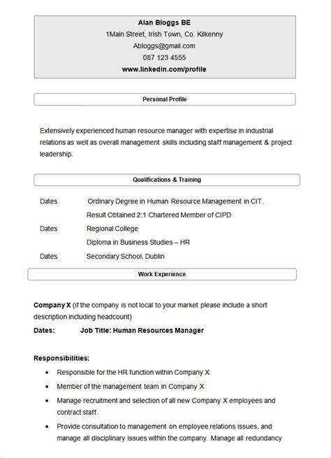 resume sle for hr gallery creawizard