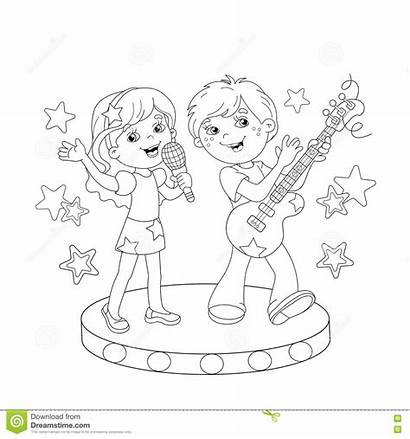 Singing Coloring Outline Song Boy Stage Cartoon