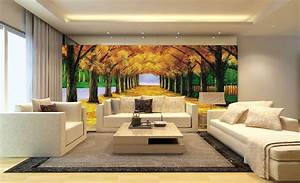 3D living room wall with boulevard background