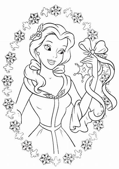 Coloring Princess Pages Disney Belle Adult Christmas