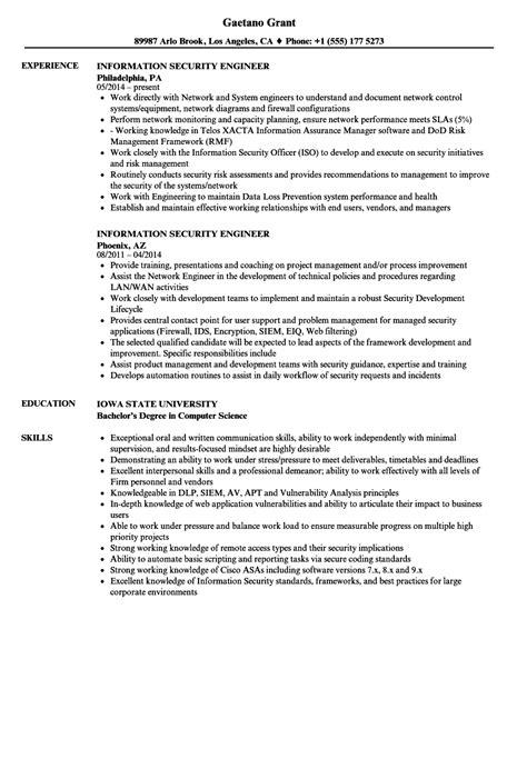 Information Security Resume by Information Security Engineer Resume Sles Velvet