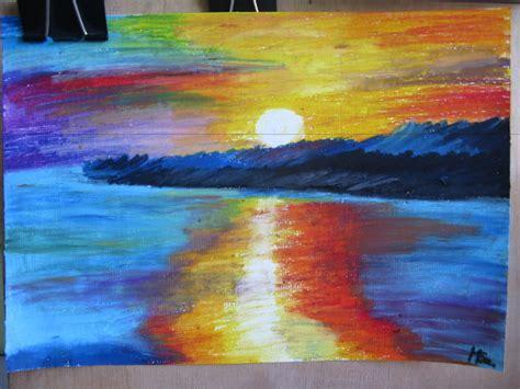 sunset drawing  oil pastels  miki  deviantart
