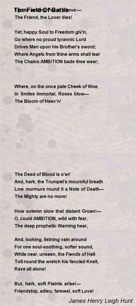 field  battle poem  james henry leigh hunt poem