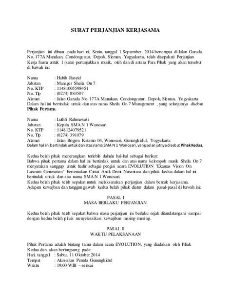 contoh surat perjanjian kerjasama sewa menyewa surat