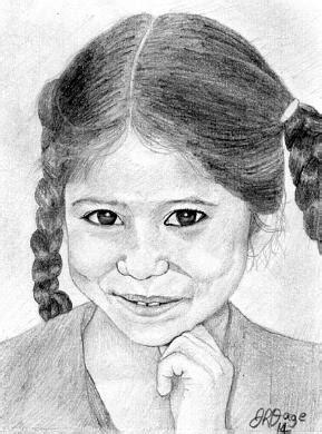 Young Pakistani Girl Drawing by Jennaya Dunlap