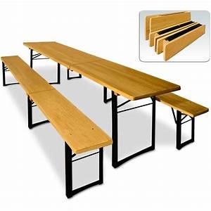 Table Et Banc De Jardin : ensemble table et bancs pliable en bois 220 cm pour ~ Melissatoandfro.com Idées de Décoration
