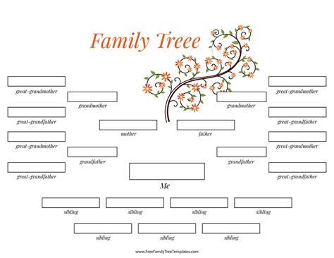 Family Tree Template Family Tree Templates 4 Generations 4 Generation Family Tree Many Siblings Template Free