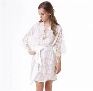 swan queen scalloped lined bridal lace kimono robe ivory off With robe wedding