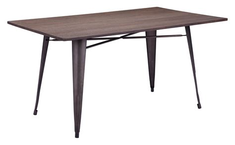 wood steel dining table titus rustic wood metal rectangular dining table