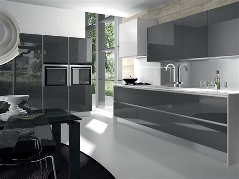 Modern Glossy Grey Kitchen Cabinets And White Countertop The Best Spray Paint Green Plastic Galaxy Tutorial Refill Can Camouflage Uk Kitchen Units Car Flat Black Distressing Furniture With