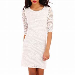 robe dentelle blanche manches 3 4 pas cher la modeuse With robe blanche manche 3 4