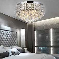 Luxury Round Flush Mount Fitting Crystal Droplet Ceiling