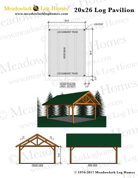 20x26 log pavilion meadowlark log homes