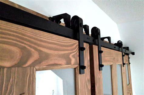 installing barn door hardware installing sliding barn door hardware with bypass brackets