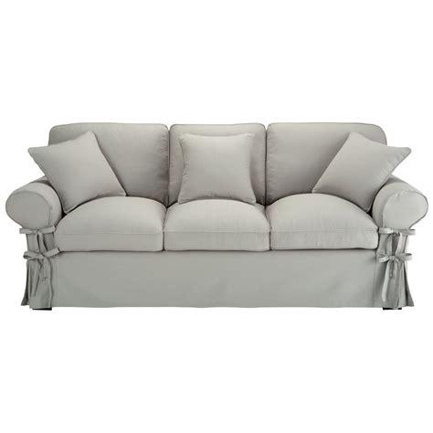 canapé 3 places fixe canapé 3 places en coton gris clair butterfly maisons du