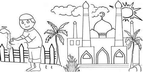 gambar mewarnai masjid dan orang