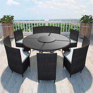 Gartentisch Und Stühle Set : polyrattan 12 personen runder tisch und st hle set schwarz designm bel garten garten ~ Orissabook.com Haus und Dekorationen