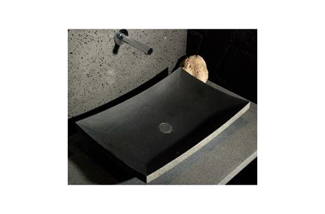 vasque de salle de bain en pierre  poser basalte
