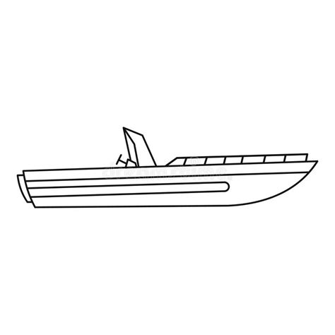 Motor Boat Outline by Motor Speed Boat Icon Outline Style Stock Vector