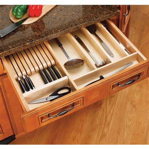 drawer organizers wood knife block kitchen drawer insert