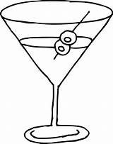 Glass Martini Line Clip Coloring Clipart Sweetclipart sketch template