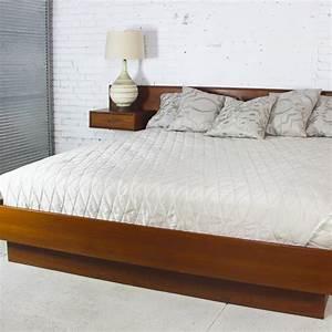 Vintage, Scandinavian, Modern, Teak, King, Platform, Bed, With, Attached, Night, Stands, U2013, Warehouse, 414