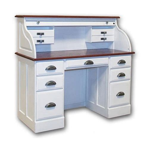 small white roll top desk white roll top desk solid wood 7 drawer white roll