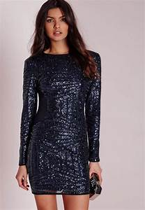 long sleeve sequin bodycon dress navy missguided With robe en sequin