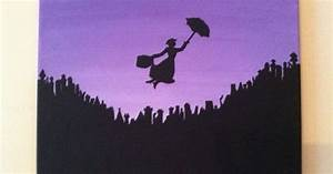 Original Acrylic Silhouette Painting of Mary Poppins ...