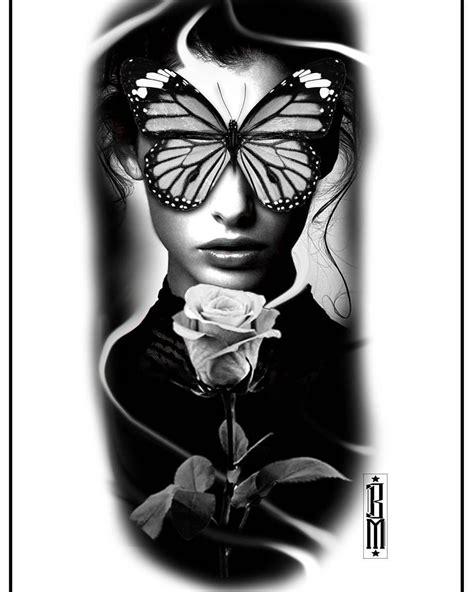 #butterfly #rose #face #women #design #tattoo #