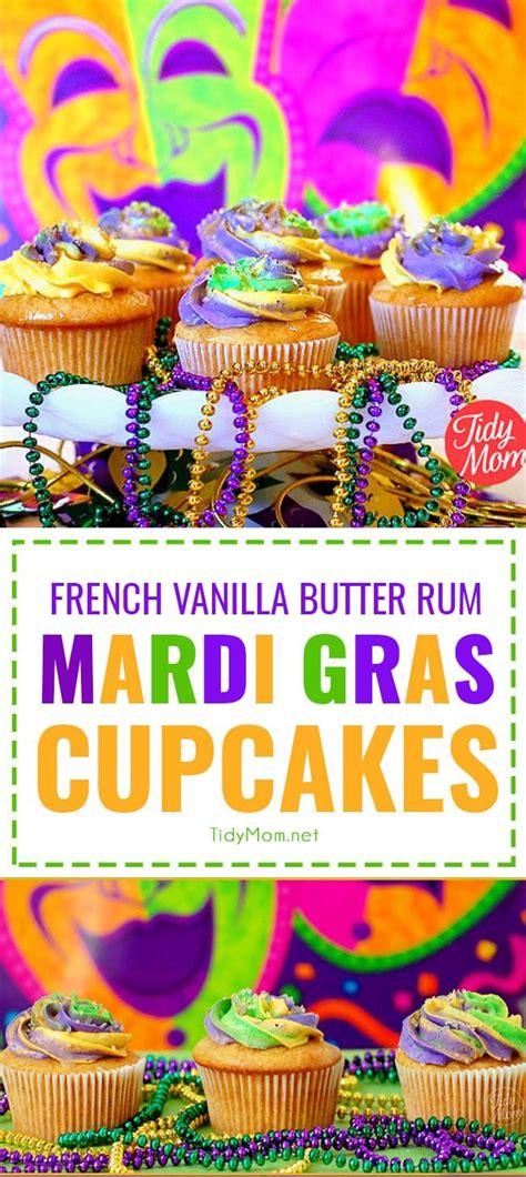 mardi gras cupcakes french vanilla buttered rum