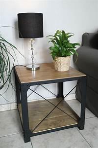 Table Basse Loft : petite table basse style loft bois et acier ~ Teatrodelosmanantiales.com Idées de Décoration