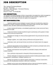 Purchasing Coordinator Description by Purchasing Assistant Description Sle 9 Exles In Word Pdf