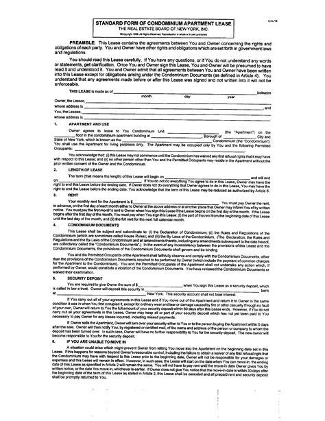 standard form  condominium lease agreement