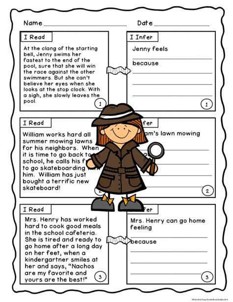 making inferences  interpret fiction worksheets