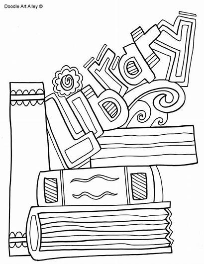 Coloring Library Books Covers Binder Doodle Printable